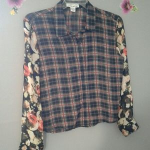 Sheer plaid blouse with contrasting floral sleeves